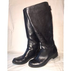 Nine West Black Leather Riding Boot